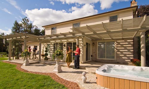 large-sandstone-pergola - Pergolas And Solid Patio Covers